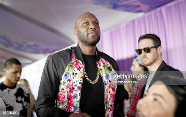 Former NBA player Lamar Odom at Nickelodeon's 2017 Kids' Choice Awards at USC Galen Center on March 11 2017 in Los Angeles California