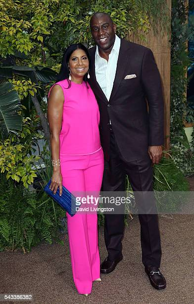 Former NBA player Magic Johnson and wife Earlitha Kelly attend the premiere of Warner Bros Pictures' The Legend of Tarzan at the Dolby Theatre on...
