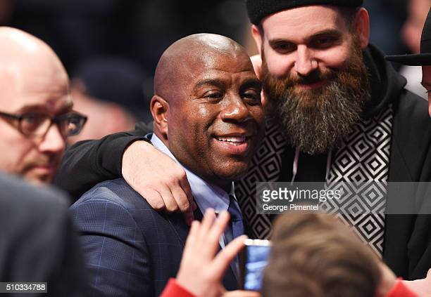 Former NBA Player Magic Johnson attends the 2016 NBA AllStar Game at Air Canada Centre on February 14 2016 in Toronto Canada