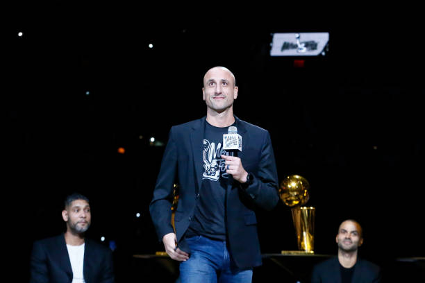 Former NBA player, Manu Ginobili, speaks during the Tony Parker jersey retirement ceremony prior to a game between the Memphis Grizzlies and the San...