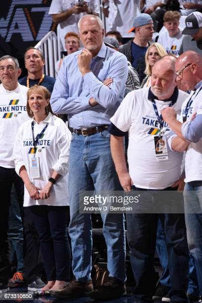 Former NBA player Mark Eaton attends Game Four during the Western Conference Quarterfinals between the LA Clippers and the Utah Jazz of the 2017 NBA...
