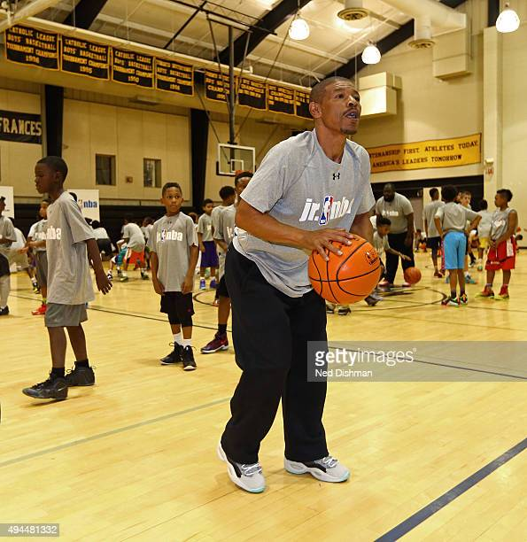 Former NBA player Muggsy Bogues hosts a Junior NBA Clinic on October 22 2015 in Baltimore Maryland NOTE TO USER User expressly acknowledges and...