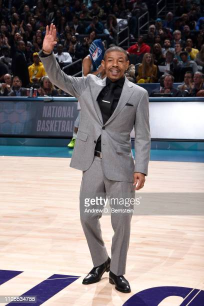 Former NBA player Muggsy Bogues is honored during the 2019 NBA AllStar Game on February 17 2019 at the Spectrum Center in Charlotte North Carolina...