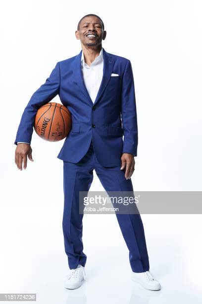 Former NBA player Muggsy Bogues poses for a portrait during the 2019 NBA Awards Show at the Barker Hangar on June 24 2019 in Santa Monica California...