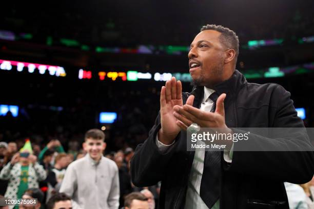 Former NBA player Paul Pierce attends the game between the Boston Celtics and Houston Rockets at TD Garden on February 29, 2020 in Boston,...