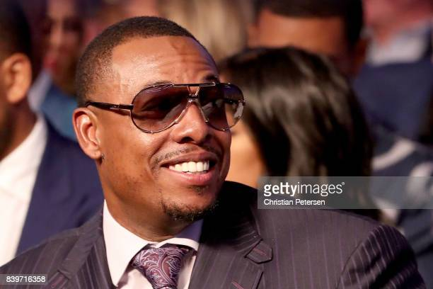 Former NBA player Paul Pierce attends the super welterweight boxing match between Floyd Mayweather Jr and Conor McGregor on August 26 2017 at TMobile...
