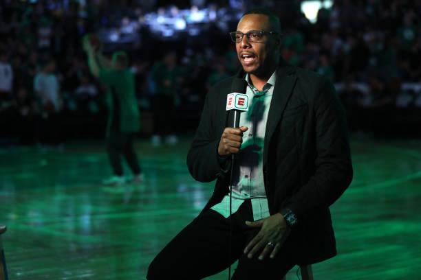 Former NBA Player Paul Pierce before Game Seven of the 2018 NBA Eastern Conference Finals between the Boston Celtics and the Cleveland Cavaliers at...