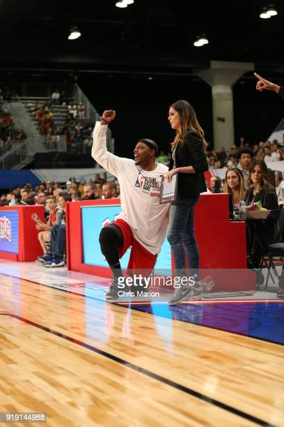 Former NBA player Paul Pierce reacts during the 2018 NBA AllStar Game Celebrity Game as part of 2018 NBA AllStar Weekend on February 16 2018 at...
