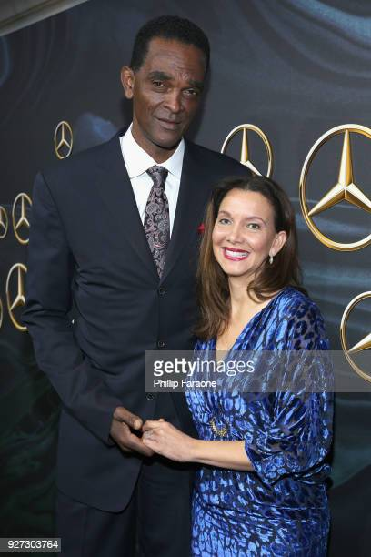 Former NBA player Ralph Sampson and his fiancée Patrice Ablack attend MercedesBenz USA Official Awards Viewing Party at Four Seasons Beverly Hills CA...