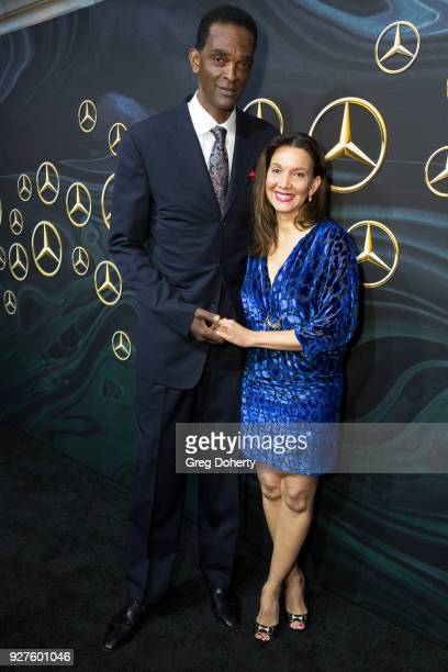 Former NBA Player Ralph Sampson and Patrice Ablack attend the MercedezBenz USA's Official Awards Viewing Party at Four Seasons Hotel Los Angeles at...