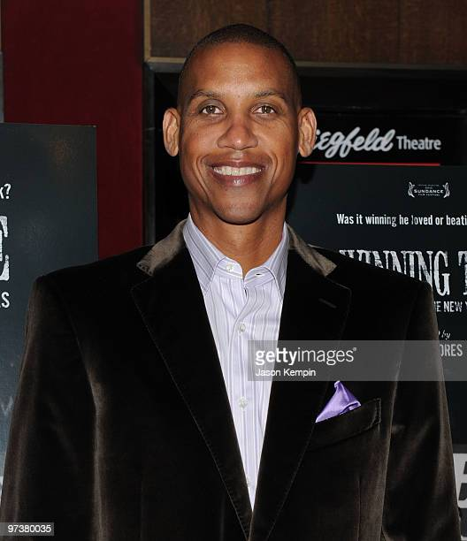 Former NBA player Reggie Miller attends the premiere of Winning Time Reggie Miller vs The New York Knicks at the Ziegfeld Theatre on March 2 2010 in...