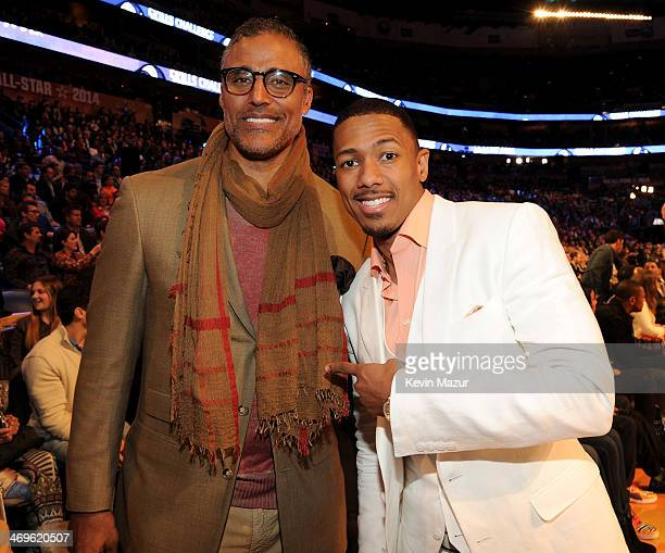Former NBA Player Rick Fox and TV Personality and Host Nick Cannon attend the State Farm All-Star Saturday Night during the NBA All-Star Weekend 2014...