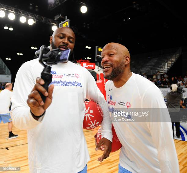 Former NBA player Ron Harper and Horace Grant joke around during the 2018 NBA Cares Unified Basketball Game as part of 2018 NBA AllStar Weekend on...