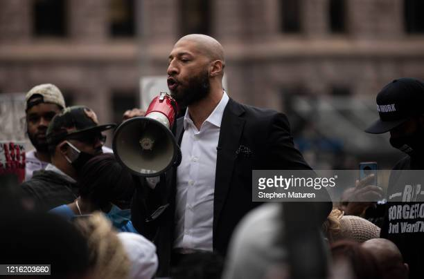 Former NBA player Royce White speaks during a protest outside the Hennepin County Government Center on May 29 2020 in Minneapolis Minnesota White a...