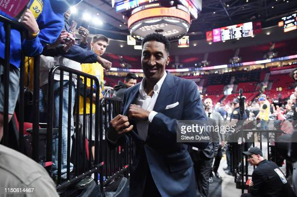 Former NBA player Scottie Pippen looks on prior to game four of the NBA Western Conference Finals between the Golden State Warriors and the Portland...