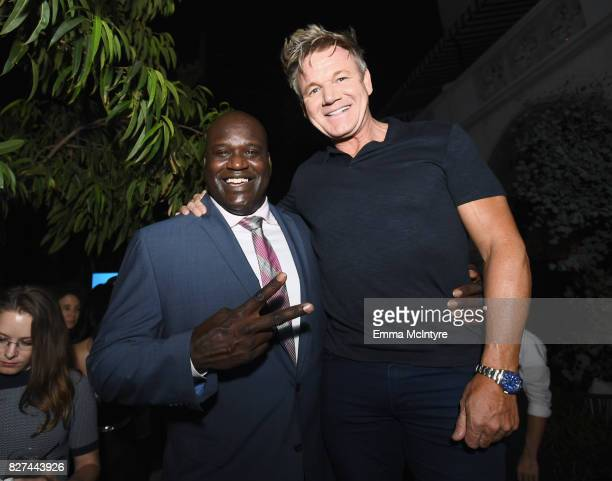 Former NBA player Shaquille O'Neal and celebrity chef Gordon Ramsay at Apple Music Launch Party Carpool Karaoke The Series with James Corden on...