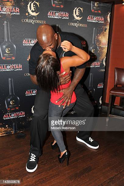 Former NBA Player Shaquille O'Neal and girlfriend Nicole Hoopz Alexander attend C By Courvoisier And Shaquille O'Neal Celebrate The C if U Can Make...