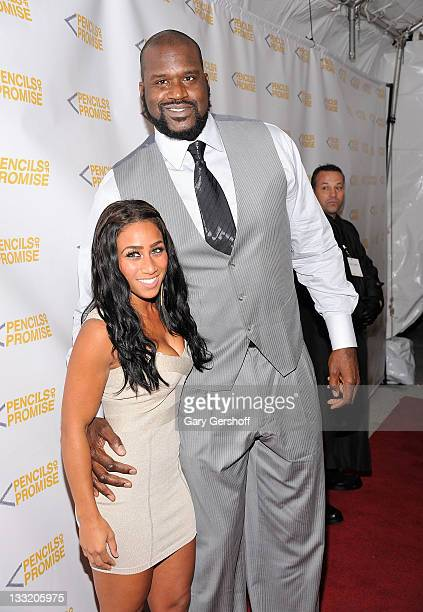 Former NBA player Shaquille O'Neal and Nicole Alexander attend the Pencils of Promise 2011 charity gala at Espace on November 17 2011 in New York City