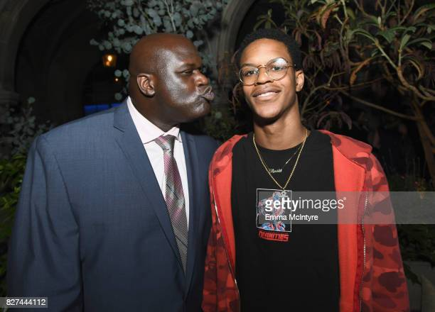 Former NBA player Shaquille O'Neal and son Shareef O'Neal at Apple Music Launch Party Carpool Karaoke The Series with James Corden on August 7 2017...
