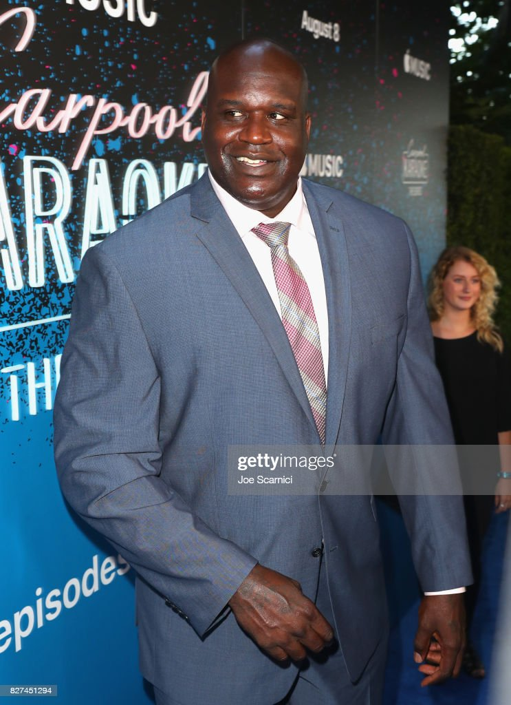Former NBA player Shaquille O'Neal at Apple Music Launch Party Carpool Karaoke: The Series with James Corden on August 7, 2017 in West Hollywood, California.