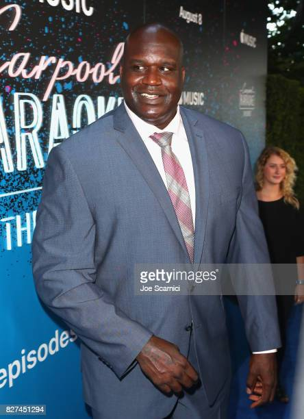 Former NBA player Shaquille O'Neal at Apple Music Launch Party Carpool Karaoke The Series with James Corden on August 7 2017 in West Hollywood...