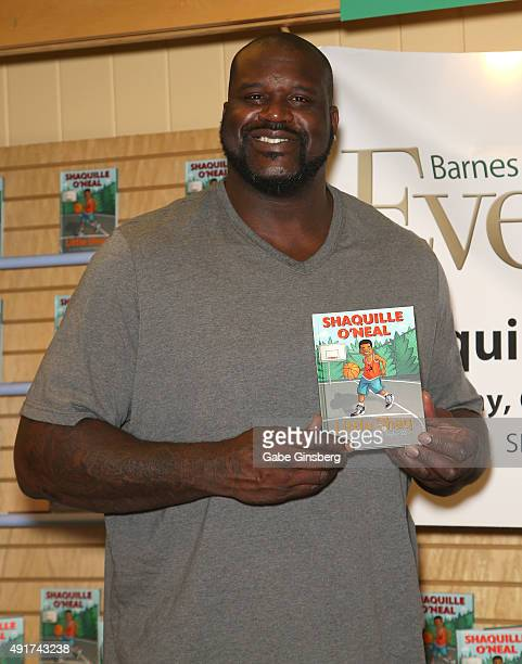Former NBA player Shaquille O'Neal attends a signing for his new book 'Little Shaq' at a Barnes Noble Booksellers on October 7 2015 in Las Vegas...