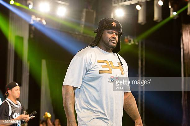 Former NBA player Shaquille O'Neal attends mobile game NBA2 launching ceremony on November 1 2015 in Shanghai China