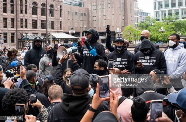 Former NBA player Stephen Jackson arrives at a protest in response to the police killing of George Floyd outside the Hennepin County Government...