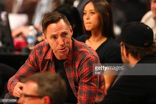 Former NBA player Steve Nash looks on in the Verizon Slam Dunk Contest during NBA AllStar Weekend 2016 at Air Canada Centre on February 13 2016 in...
