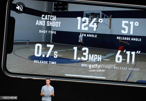Former NBA player Steve Nash speaks at an Apple event at the Steve Jobs Theater at Apple Park on September 12 2018 in Cupertino California Apple is...