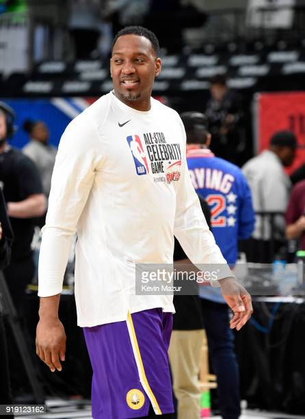 Former NBA player Tracy McGrady practices during the NBA AllStar Celebrity Game 2018 presented by Ruffles at Verizon Up Arena at LACC on February 16...
