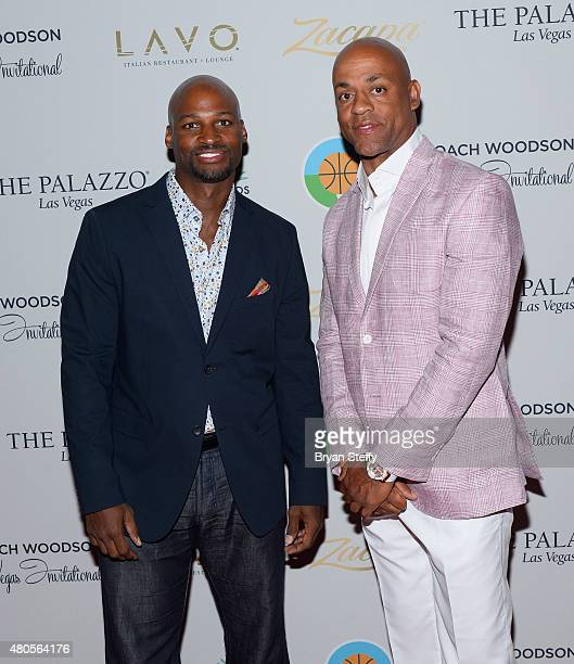 Former NBA player Travis Best and George Clayton arrive at the second annual Coach Woodson Las Vegas Invitational pairings party at the Lavo...