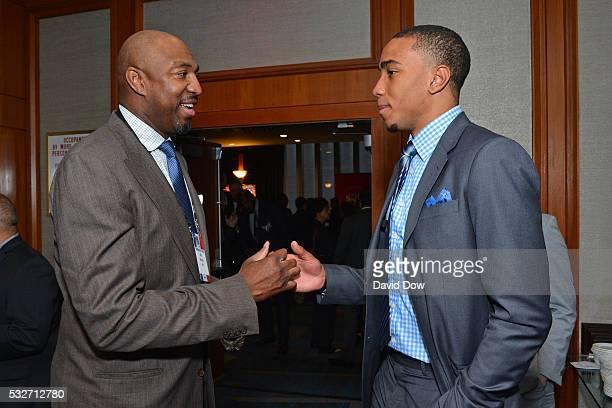 Former NBA player Vin Baker talks to NBA Draft Prospect Brice Johnson during the 2016 NBA Draft Lottery at the New York Hilton in New York New York...