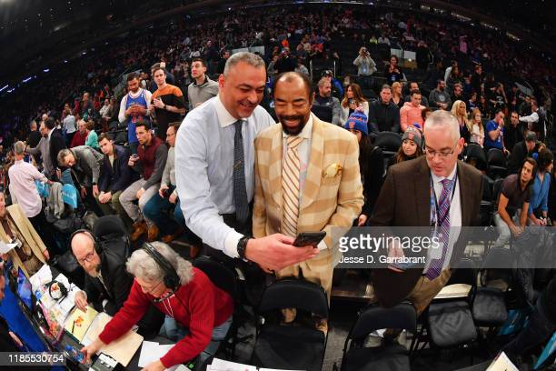 Former NBA Player, Walt Frazier, poses for a photo prior to a game between the Philadelphia 76ers and the New York Knicks on November 29, 2019 at...