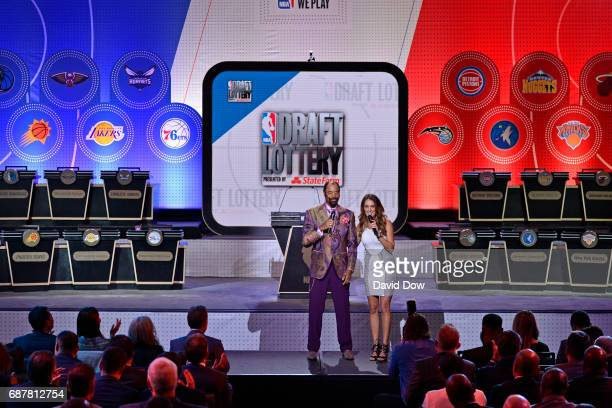 Former NBA player Walter 'Clyde' Frazier and Alison Williams help host the 2017 NBA Draft Lottery at the New York Hilton in New York New York NOTE TO...