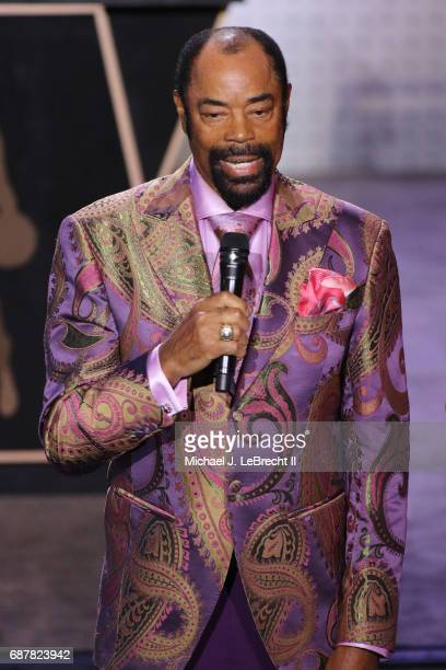Former NBA player Walter 'Clyde' Frazier talks to the crowd during the 2017 NBA Draft Lottery at the New York Hilton in New York New York NOTE TO...
