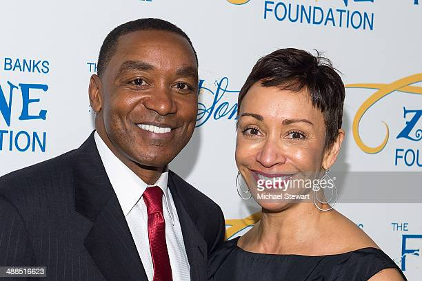 Former NBA player/coach Isiah Thomas and Lynn Kendall attend Tyra Banks' Flawsome Ball 2014 at Cipriani Wall Street on May 6 2014 in New York City