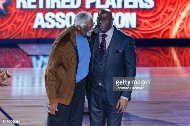 Former NBA players Bill Russell and Earvin 'Magic' Johnson Jr are honored during the 2017 NBA AllStar Game at Smoothie King Center on February 19...