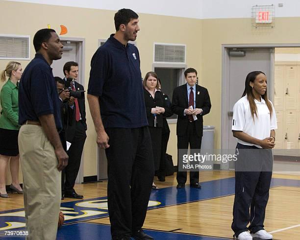 Former NBA players Buck Williams George Muresan and current Washington Mystics player Nikki Blue during Malaria Awareness Day at Friendship Public...