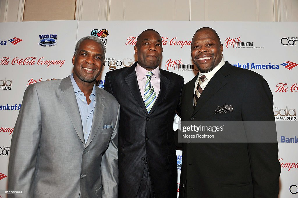 Former NBA players Charles Oakley, Dikembe Mutombo and Patrick Ewing attend the Care For Congo Gala 2013 at the St. Regis Hotel on April 13, 2013 in Atlanta, Georgia.
