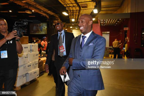 Former NBA players Chauncey Billups and Paul Pierce arrive before Game Four of the 2017 NBA Finals on June 9 2017 at Quicken Loans Arena in Cleveland...