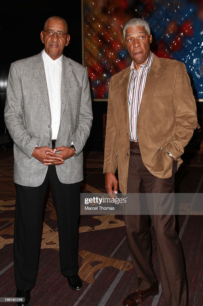 Former NBA players Julius 'Dr J' Erving and George 'The Iceman' Gervin attend the 8th All Star Celebrity Classic benefiting the Mr October Foundation for Kids at Cosmopolitan Hotel on November 11, 2012 in Las Vegas, Nevada.