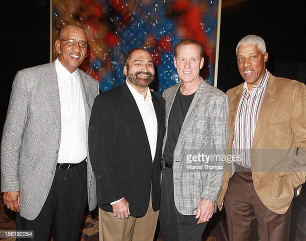 Former NBA players Julius 'Dr J' Erving Rick Barry George 'The Iceman' Gervin and former NFL player Franco Harris attend the 8th All Star Celebrity...