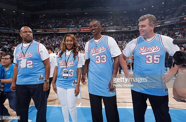 Former NBA players Rodney McCray Otis Thorpe and Joe Kleine look on alongside Danielle Tisdale during the game between the Oklahoma City Thunder and...