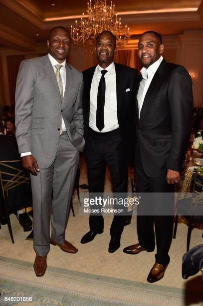Former NBA Players Theo RatliffAntonio Davis and Steve Smith attend the 2017 DMF Care for Congo Gala at St Regis Hotel on September 16 2017 in...
