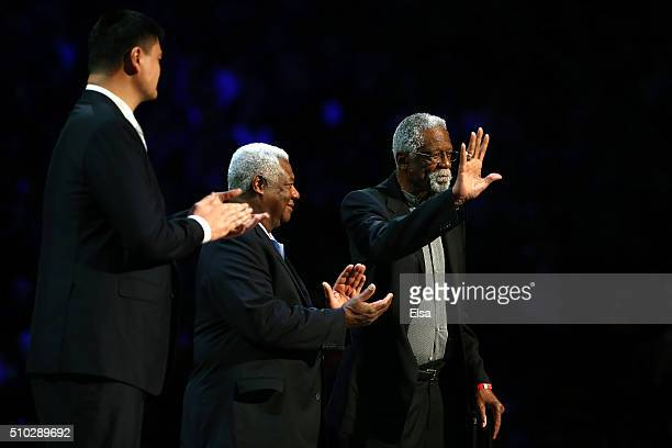 Former NBA players Yao Ming Oscar Robertson and Bill Russell are honored in the first half during the NBA AllStar Game 2016 at the Air Canada Centre...
