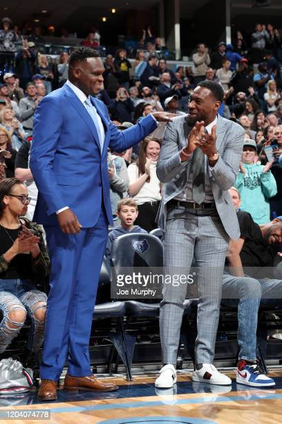 Former NBA players Zach Randolph and Tony Allen attend a game between the Memphis Grizzlies and the Sacramento Kings on February 28 2020 at...