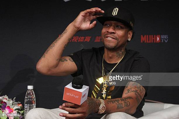 Former NBA star Allen Iverson attends a news conference on October 25 2016 in Beijing China