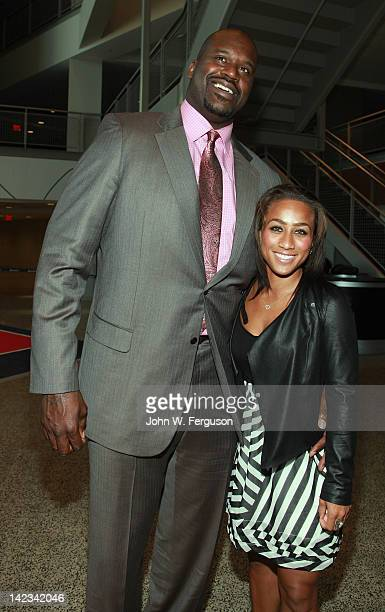Former NBA star and current analyst Shaquille O'Neal and Nicole Alexander at the 24th annual Evening of the Stars gala at the Prudential Center on...