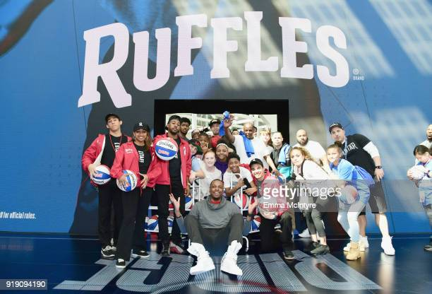 "Former NBA Star Paul Pierce give tips to fans on how to shoot from ""The RIDGE"" at the Ruffles footprint in Los Angeles during NBA AllStar festivities..."